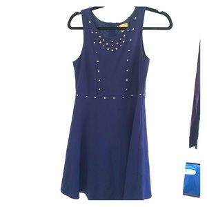 Nicole Miller Blue Dress with Gold size XL